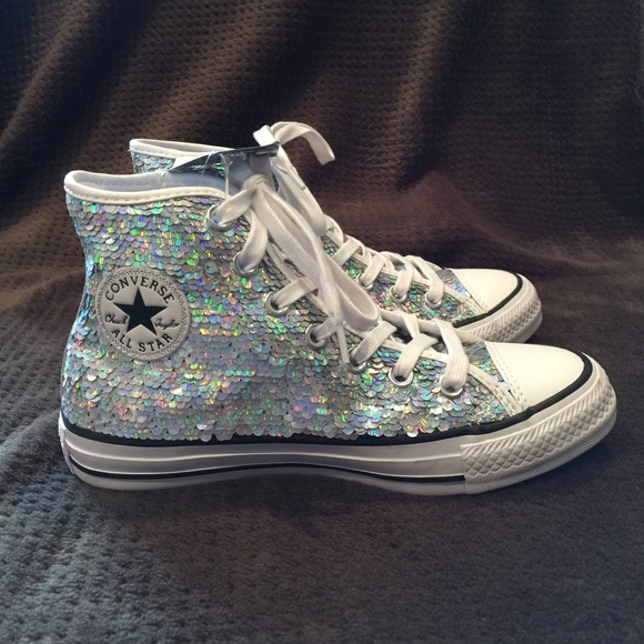 f415533dd45629 Converse Shoes - Chuck Taylor All Star Silver Sequins High Tops